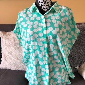 VAN HEUSEN Studio Mint Color Polka Dots Blouse L